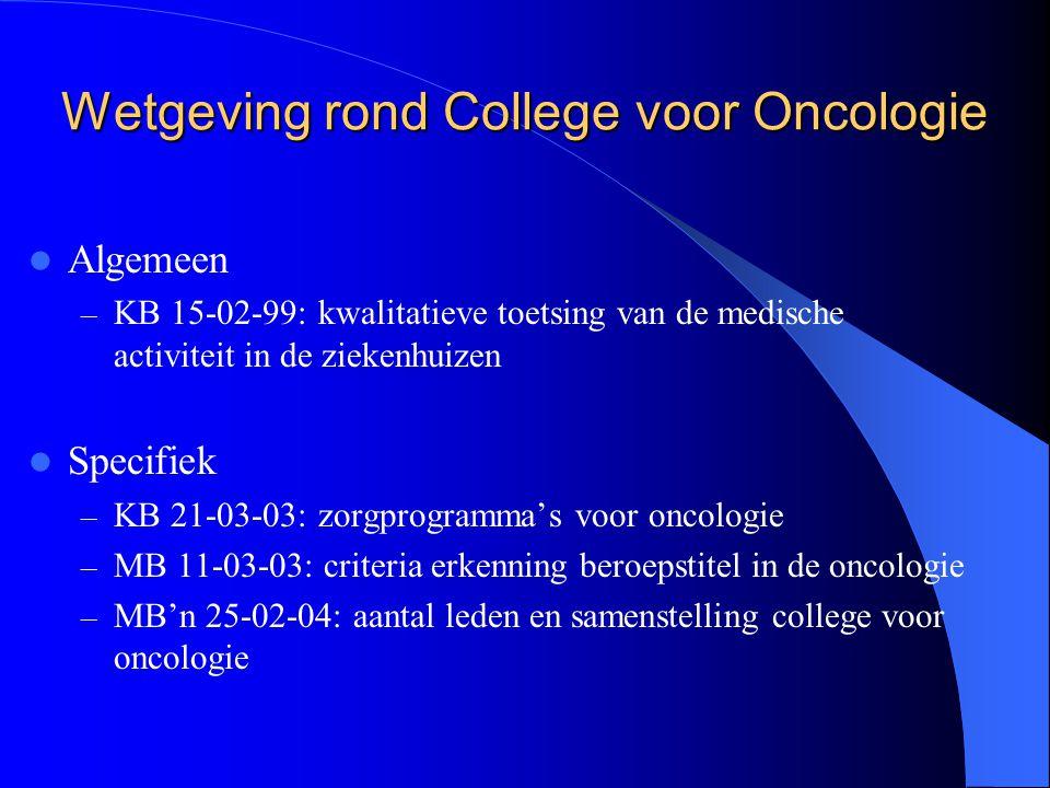 Wetgeving rond College voor Oncologie  Algemeen – KB 15-02-99: kwalitatieve toetsing van de medische activiteit in de ziekenhuizen  Specifiek – KB 2