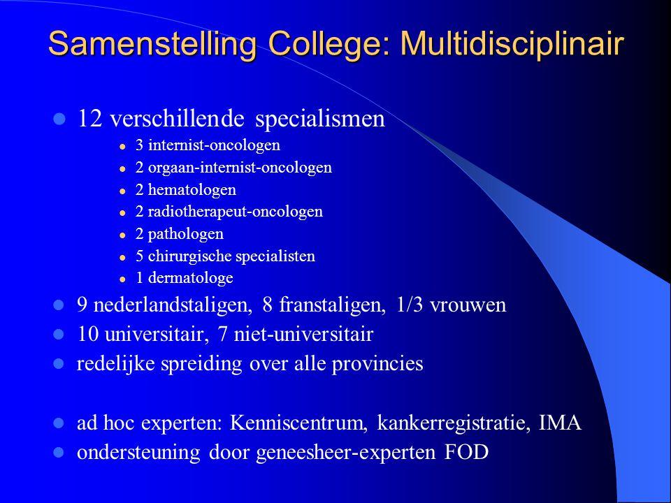 Samenstelling College: Multidisciplinair  12 verschillende specialismen  3 internist-oncologen  2 orgaan-internist-oncologen  2 hematologen  2 ra