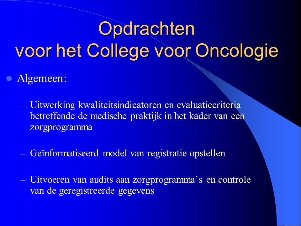 Opdrachten voor het College voor Oncologie  Algemeen: – Uitwerking kwaliteitsindicatoren en evaluatiecriteria betreffende de medische praktijk in het kader van een zorgprogramma – Geïnformatiseerd model van registratie opstellen – Uitvoeren van audits aan zorgprogramma's en controle van de geregistreerde gegevens