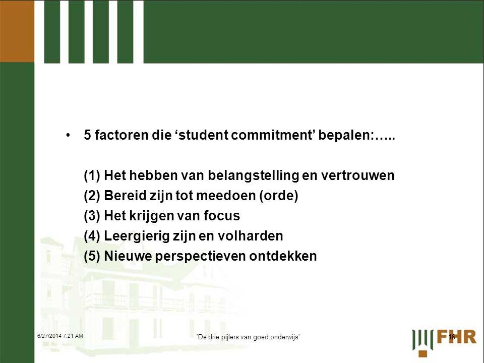 •5 factoren die 'student commitment' bepalen:….. (1) Het hebben van belangstelling en vertrouwen (2) Bereid zijn tot meedoen (orde) (3) Het krijgen va