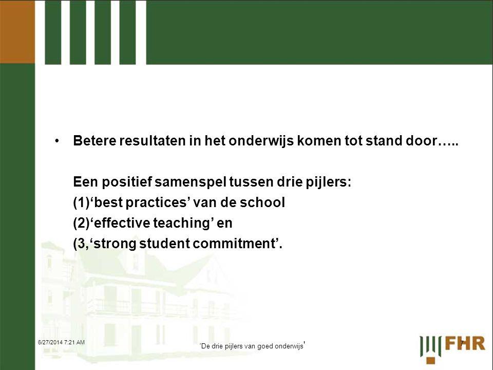 •Betere resultaten in het onderwijs komen tot stand door….. Een positief samenspel tussen drie pijlers: (1)'best practices' van de school (2)'effectiv