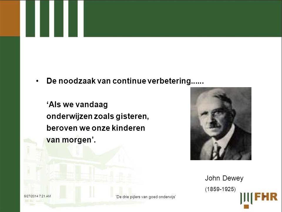 •De noodzaak van continue verbetering...... 'Als we vandaag onderwijzen zoals gisteren, beroven we onze kinderen van morgen'. John Dewey (1859-1925) 9