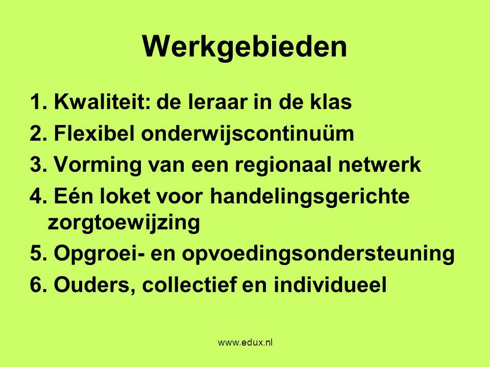 www.edux.nl Werkgebieden 1. Kwaliteit: de leraar in de klas 2. Flexibel onderwijscontinuüm 3. Vorming van een regionaal netwerk 4. Eén loket voor hand