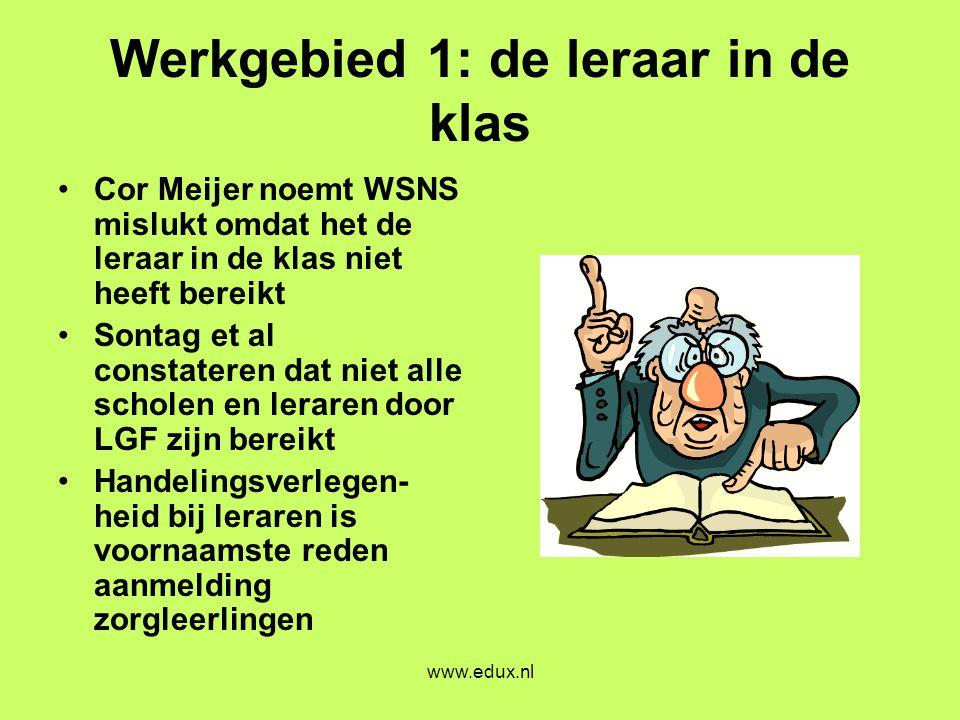 www.edux.nl Werkgebied 1: de leraar in de klas •Cor Meijer noemt WSNS mislukt omdat het de leraar in de klas niet heeft bereikt •Sontag et al constate