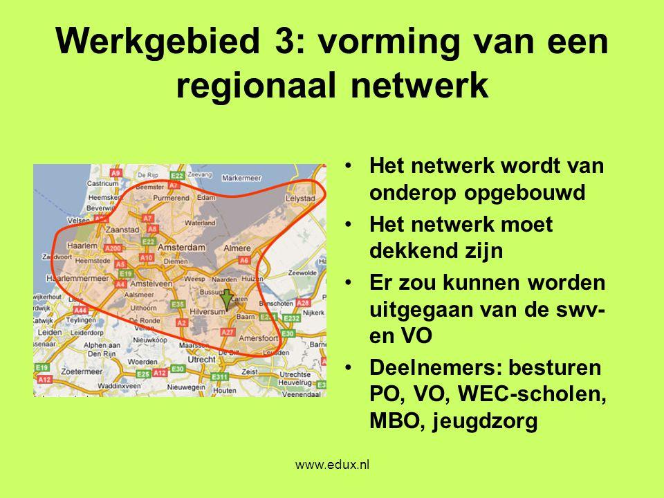 www.edux.nl Werkgebied 3: vorming van een regionaal netwerk •Het netwerk wordt van onderop opgebouwd •Het netwerk moet dekkend zijn •Er zou kunnen wor