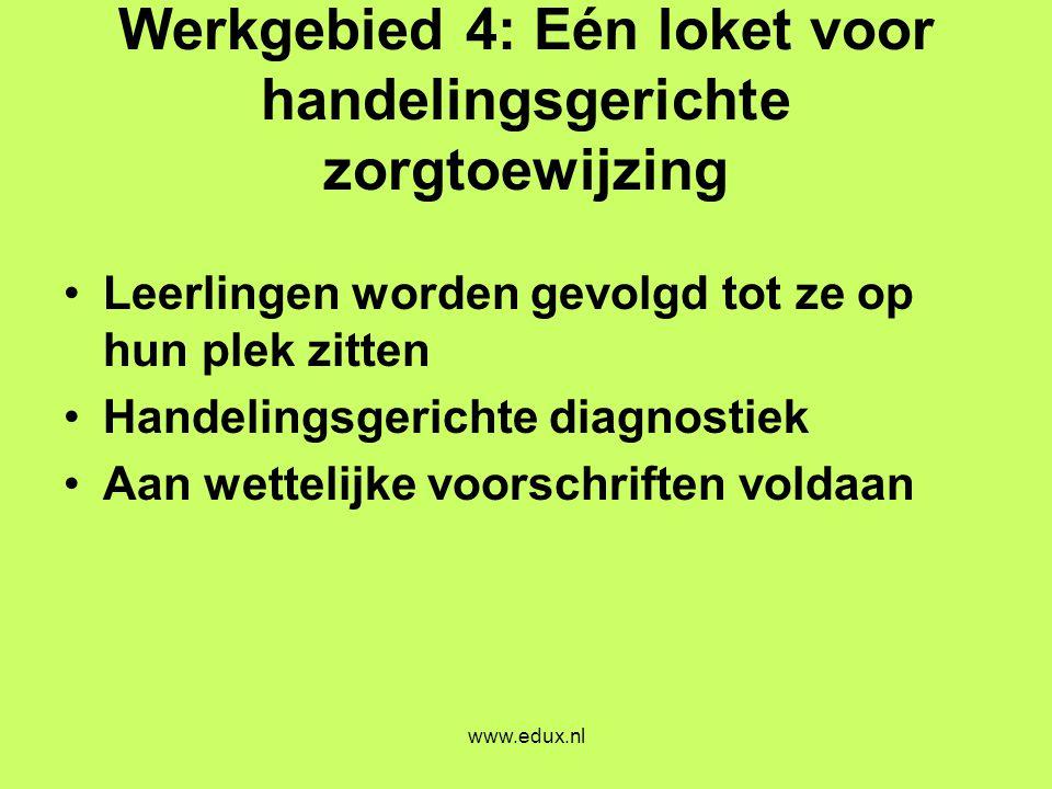 www.edux.nl Werkgebied 4: Eén loket voor handelingsgerichte zorgtoewijzing •Leerlingen worden gevolgd tot ze op hun plek zitten •Handelingsgerichte di
