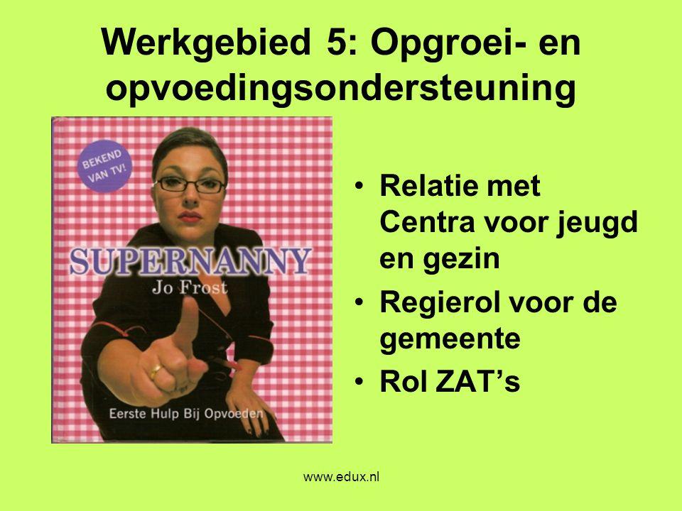 www.edux.nl Werkgebied 5: Opgroei- en opvoedingsondersteuning •Relatie met Centra voor jeugd en gezin •Regierol voor de gemeente •Rol ZAT's