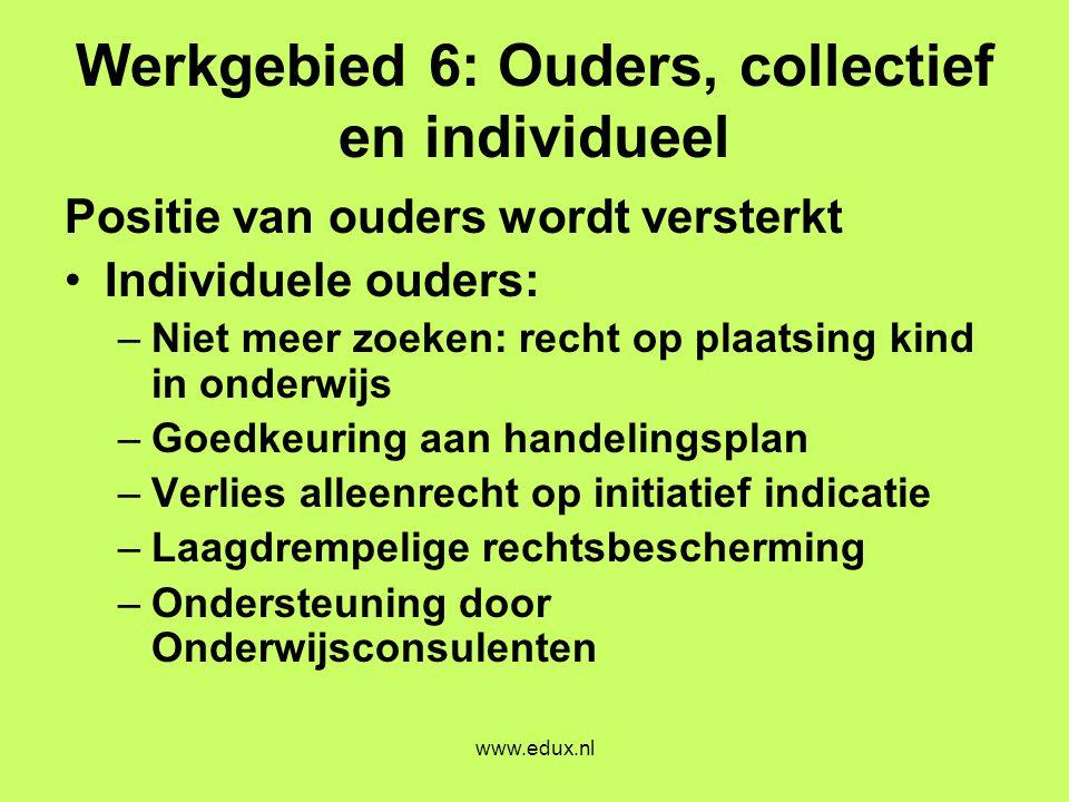 www.edux.nl Werkgebied 6: Ouders, collectief en individueel Positie van ouders wordt versterkt •Individuele ouders: –Niet meer zoeken: recht op plaats
