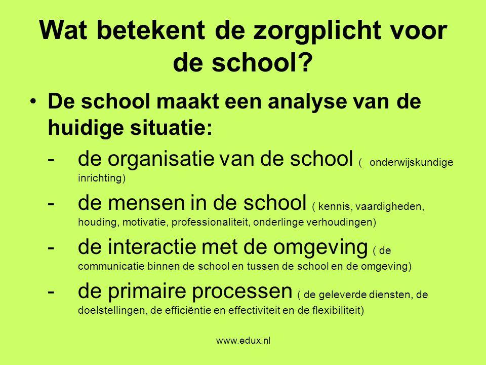 www.edux.nl Wat betekent de zorgplicht voor de school? •De school maakt een analyse van de huidige situatie: -de organisatie van de school ( onderwijs