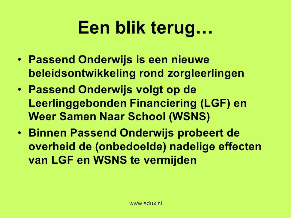 www.edux.nl Een blik terug… •Passend Onderwijs is een nieuwe beleidsontwikkeling rond zorgleerlingen •Passend Onderwijs volgt op de Leerlinggebonden F