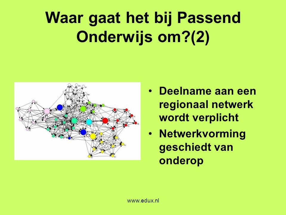 www.edux.nl Waar gaat het bij Passend Onderwijs om?(2) •Deelname aan een regionaal netwerk wordt verplicht •Netwerkvorming geschiedt van onderop