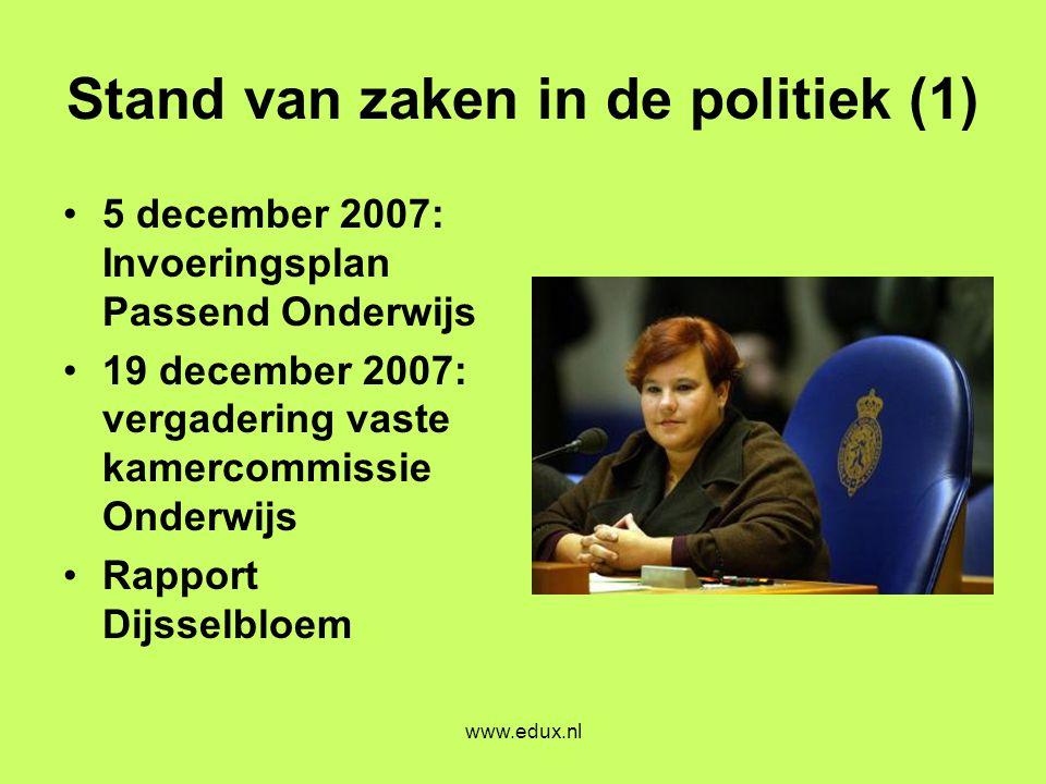 www.edux.nl Stand van zaken in de politiek (1) •5 december 2007: Invoeringsplan Passend Onderwijs •19 december 2007: vergadering vaste kamercommissie