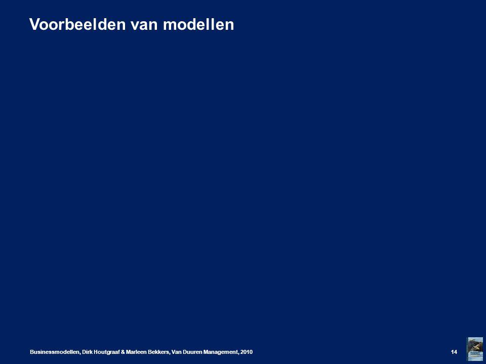Voorbeelden van modellen Businessmodellen, Dirk Houtgraaf & Marleen Bekkers, Van Duuren Management, 201014
