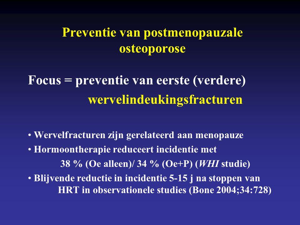 Preventie van postmenopauzale osteoporose Focus = preventie van eerste (verdere) wervelindeukingsfracturen • Wervelfracturen zijn gerelateerd aan meno