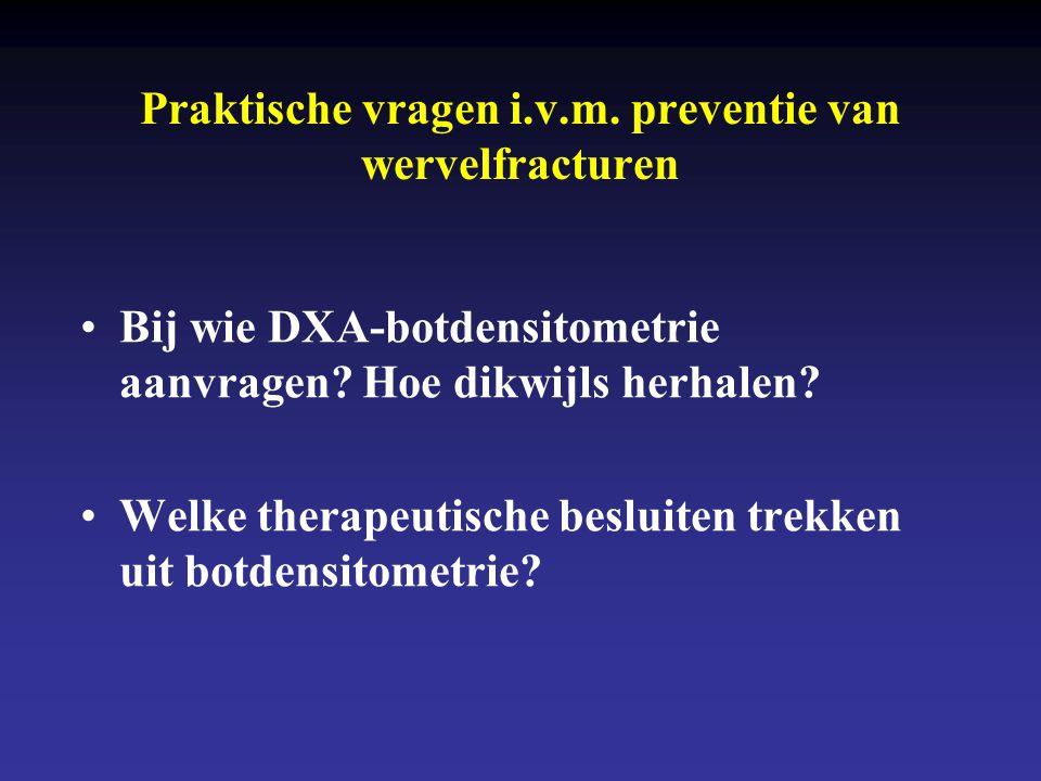 Praktische vragen i.v.m. preventie van wervelfracturen •Bij wie DXA-botdensitometrie aanvragen? Hoe dikwijls herhalen? •Welke therapeutische besluiten