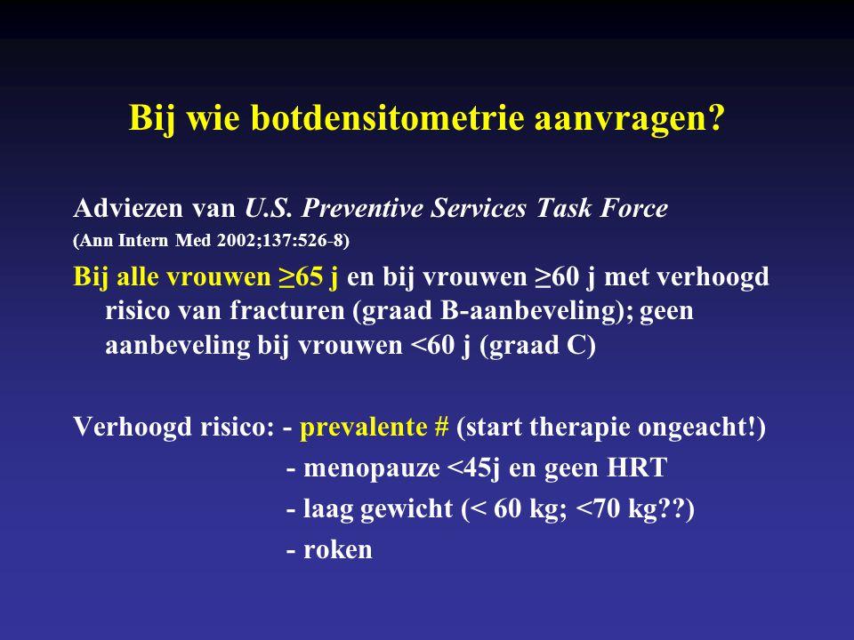 Bij wie botdensitometrie aanvragen? Adviezen van U.S. Preventive Services Task Force (Ann Intern Med 2002;137:526-8) Bij alle vrouwen ≥65 j en bij vro