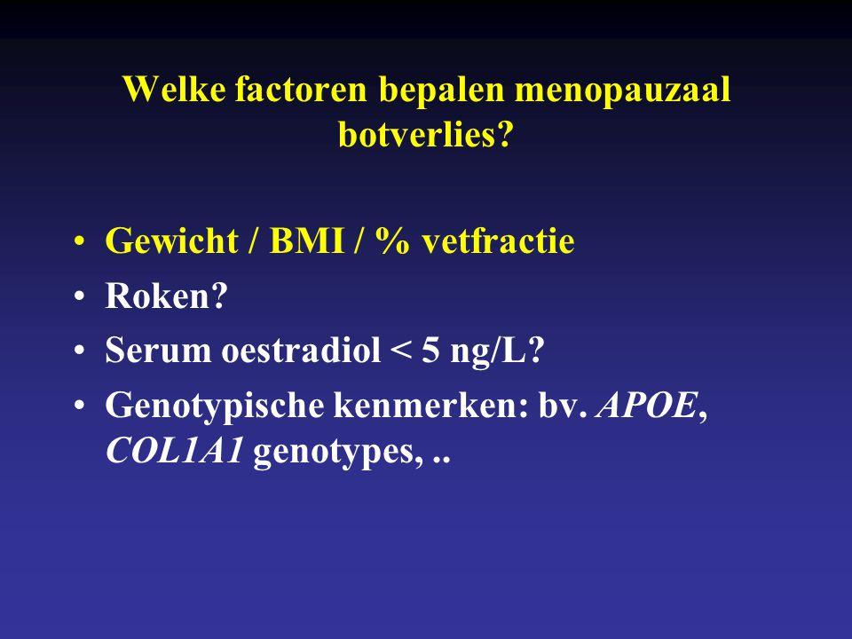 Welke factoren bepalen menopauzaal botverlies? •Gewicht / BMI / % vetfractie •Roken? •Serum oestradiol < 5 ng/L? •Genotypische kenmerken: bv. APOE, CO