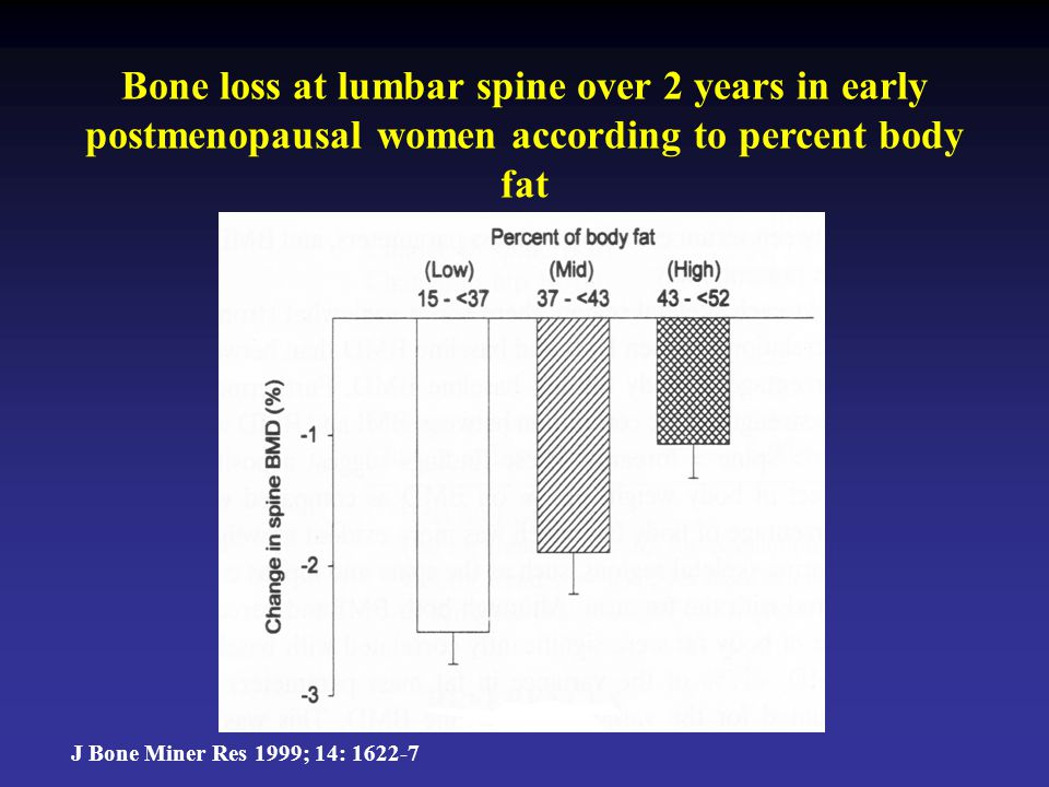Bone loss at lumbar spine over 2 years in early postmenopausal women according to percent body fat J Bone Miner Res 1999; 14: 1622-7