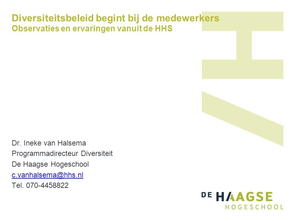 Diversiteitsbeleid begint bij de medewerkers Observaties en ervaringen vanuit de HHS Dr. Ineke van Halsema Programmadirecteur Diversiteit De Haagse Ho