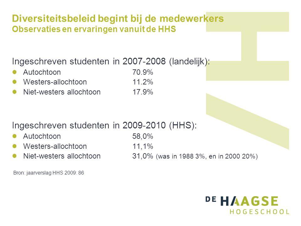Diversiteitsbeleid begint bij de medewerkers Observaties en ervaringen vanuit de HHS Ingeschreven studenten in 2007-2008 (landelijk):  Autochtoon 70.