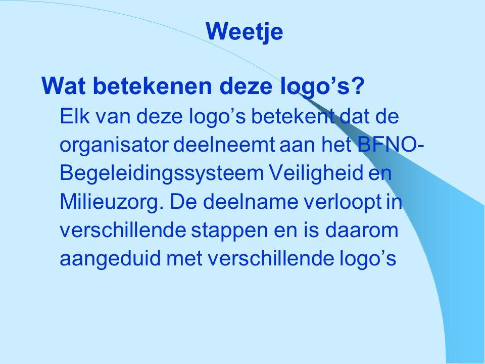 Weetje Wat betekenen deze logo's? Elk van deze logo's betekent dat de organisator deelneemt aan het BFNO- Begeleidingssysteem Veiligheid en Milieuzorg