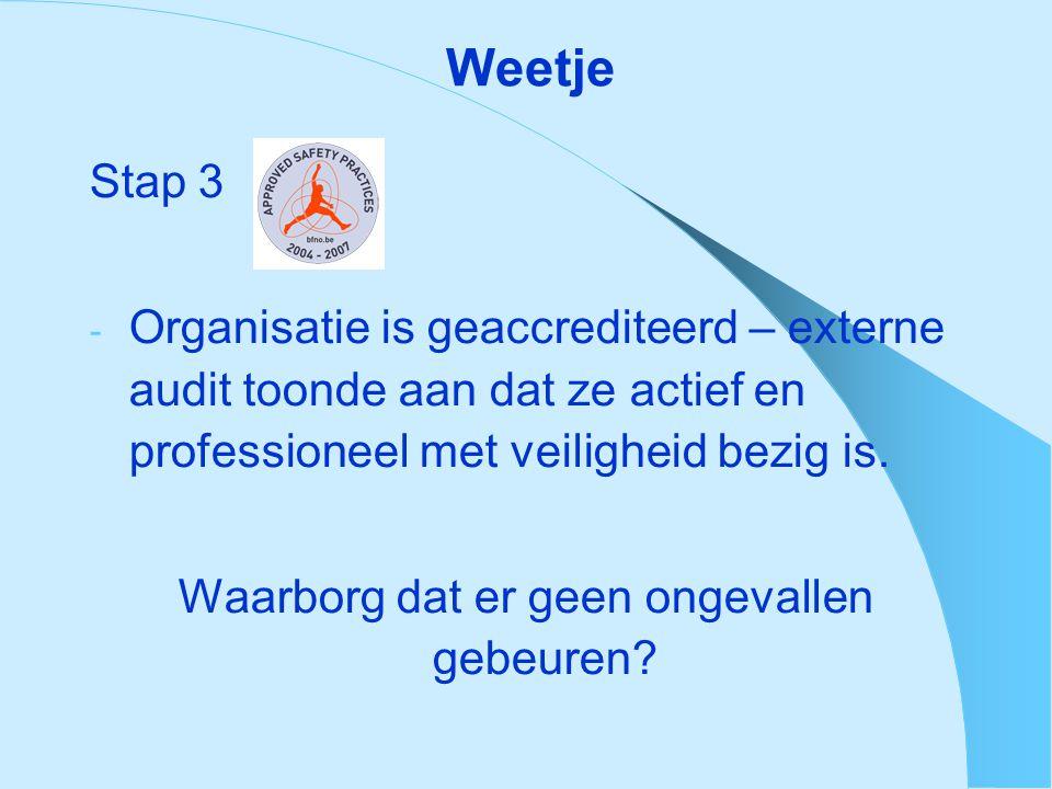 Weetje Stap 3 - Organisatie is geaccrediteerd – externe audit toonde aan dat ze actief en professioneel met veiligheid bezig is. Waarborg dat er geen