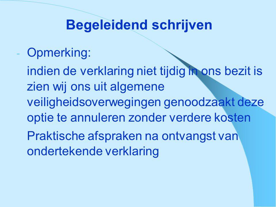 Inhoud verklaring - naam en functie van ondertekenaar - naam organisator - adres organisator – activiteit - verklaring dat: (a) de organisatie voldoet aan alle geldende wetten, decreten en reglementeringen voor wat betreft de veiligheid van de deelnemende leerlingen en personeelsleden