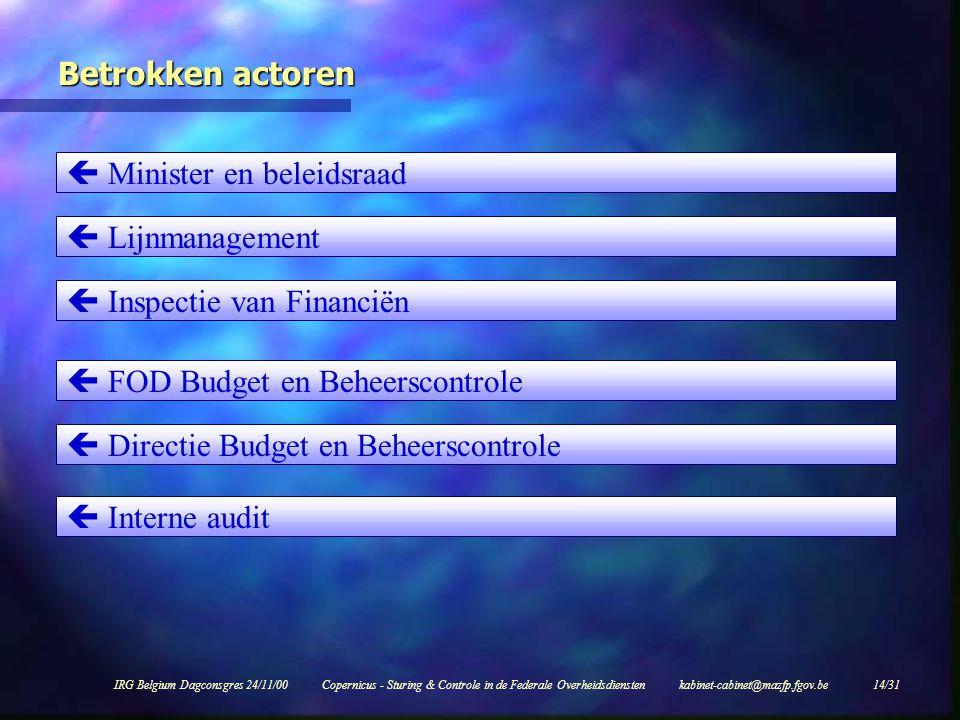 IRG Belgium Dagconsgres 24/11/00Copernicus - Sturing & Controle in de Federale Overheidsdiensten kabinet-cabinet@mazfp.fgov.be 14/31 Betrokken actoren  Minister en beleidsraad  Lijnmanagement  Inspectie van Financiën  Interne audit  Directie Budget en Beheerscontrole  FOD Budget en Beheerscontrole