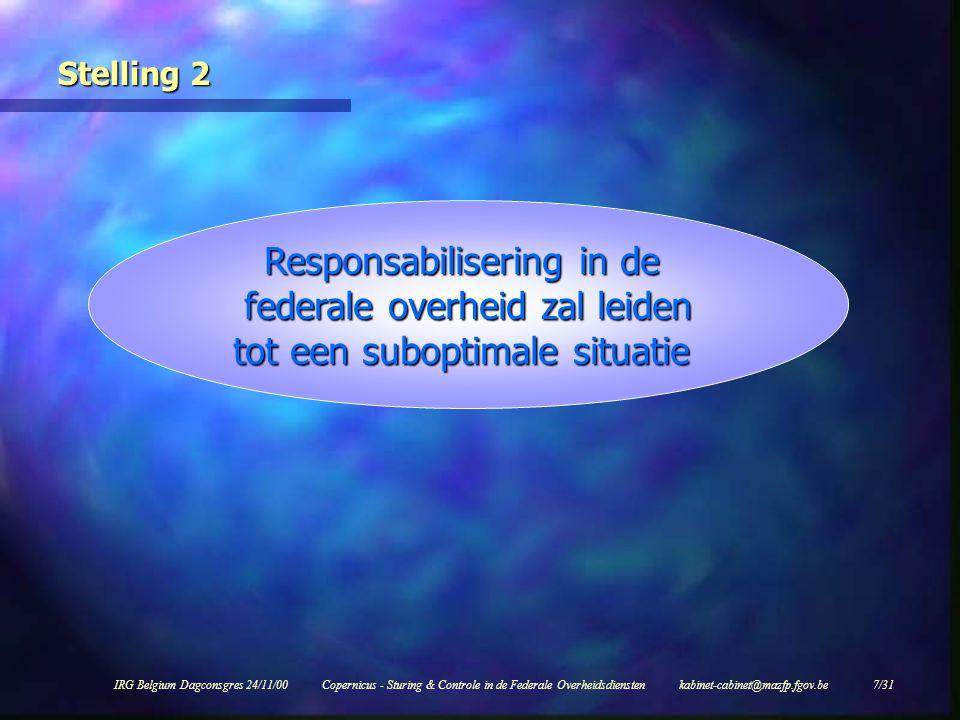 IRG Belgium Dagconsgres 24/11/00Copernicus - Sturing & Controle in de Federale Overheidsdiensten kabinet-cabinet@mazfp.fgov.be 18/31 Nieuwe budgettaire cyclus (ex ante) Stap 2 l Opmaak operationeel plan binnen enveloppe  strategische en operationele doelstellingen (zowel 'routine' als 'nieuw beleid')  verwachte volumes aan prestaties  kostprijzen van de te leveren prestaties  kostprijzen van de te leveren prestaties.