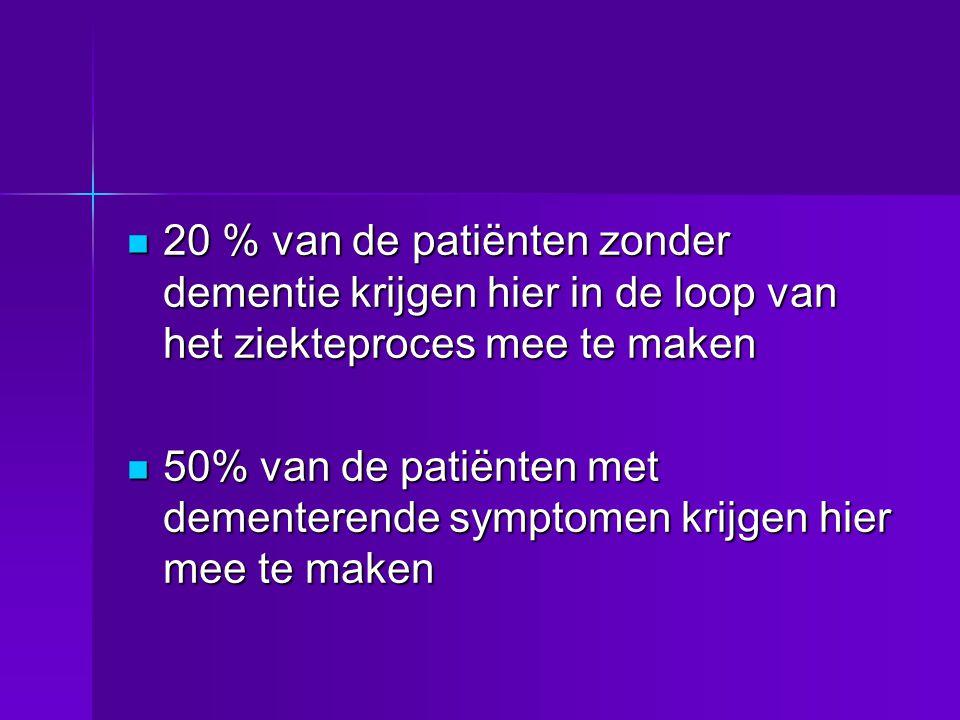  20 % van de patiënten zonder dementie krijgen hier in de loop van het ziekteproces mee te maken  50% van de patiënten met dementerende symptomen kr