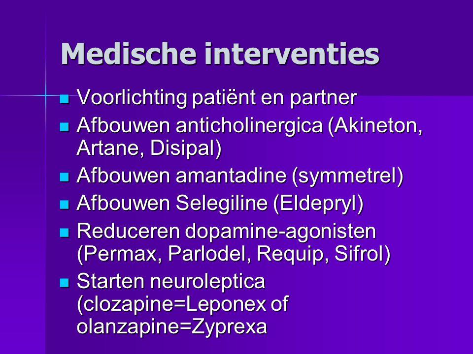 Medische interventies  Voorlichting patiënt en partner  Afbouwen anticholinergica (Akineton, Artane, Disipal)  Afbouwen amantadine (symmetrel)  Af