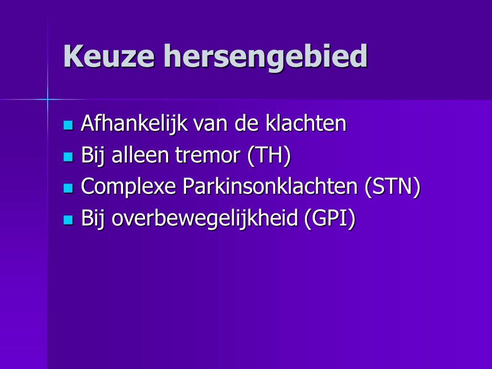 Keuze hersengebied  Afhankelijk van de klachten  Bij alleen tremor (TH)  Complexe Parkinsonklachten (STN)  Bij overbewegelijkheid (GPI)