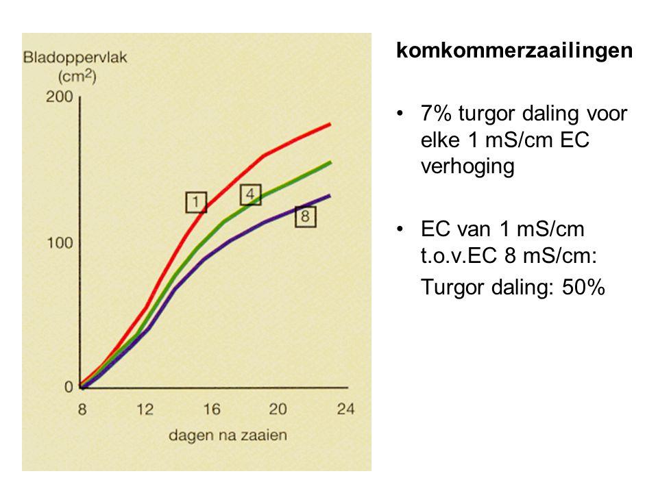 komkommerzaailingen •7% turgor daling voor elke 1 mS/cm EC verhoging •EC van 1 mS/cm t.o.v.EC 8 mS/cm: Turgor daling: 50%