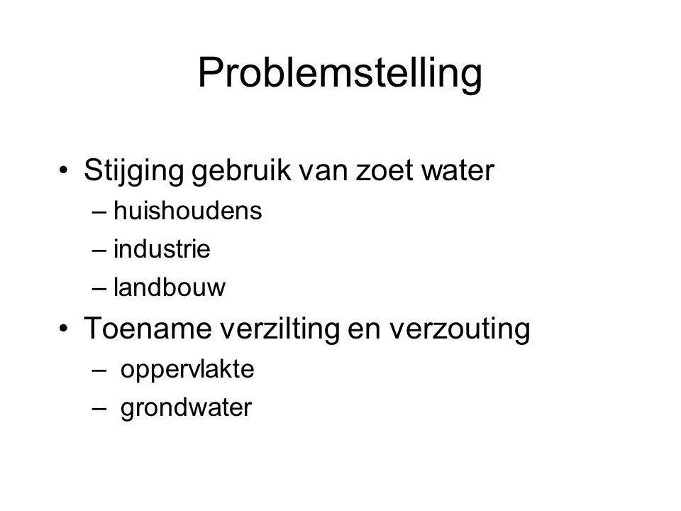 Problemstelling •Stijging gebruik van zoet water –huishoudens –industrie –landbouw •Toename verzilting en verzouting – oppervlakte – grondwater