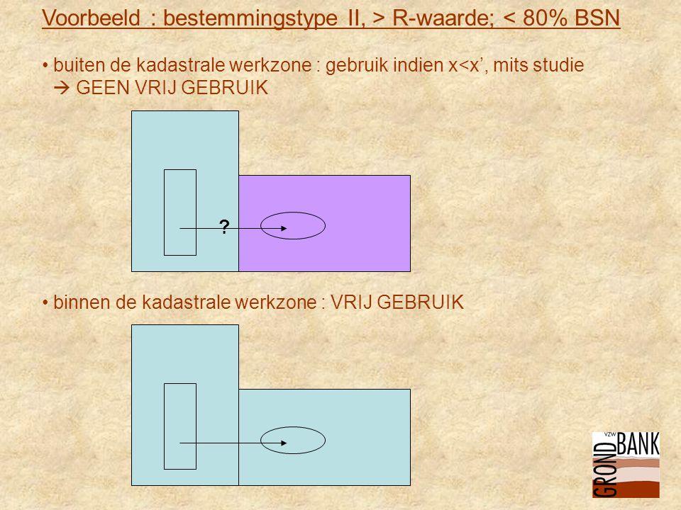 Voorbeeld : bestemmingstype II, > R-waarde; < 80% BSN • buiten de kadastrale werkzone : gebruik indien x<x', mits studie  GEEN VRIJ GEBRUIK .