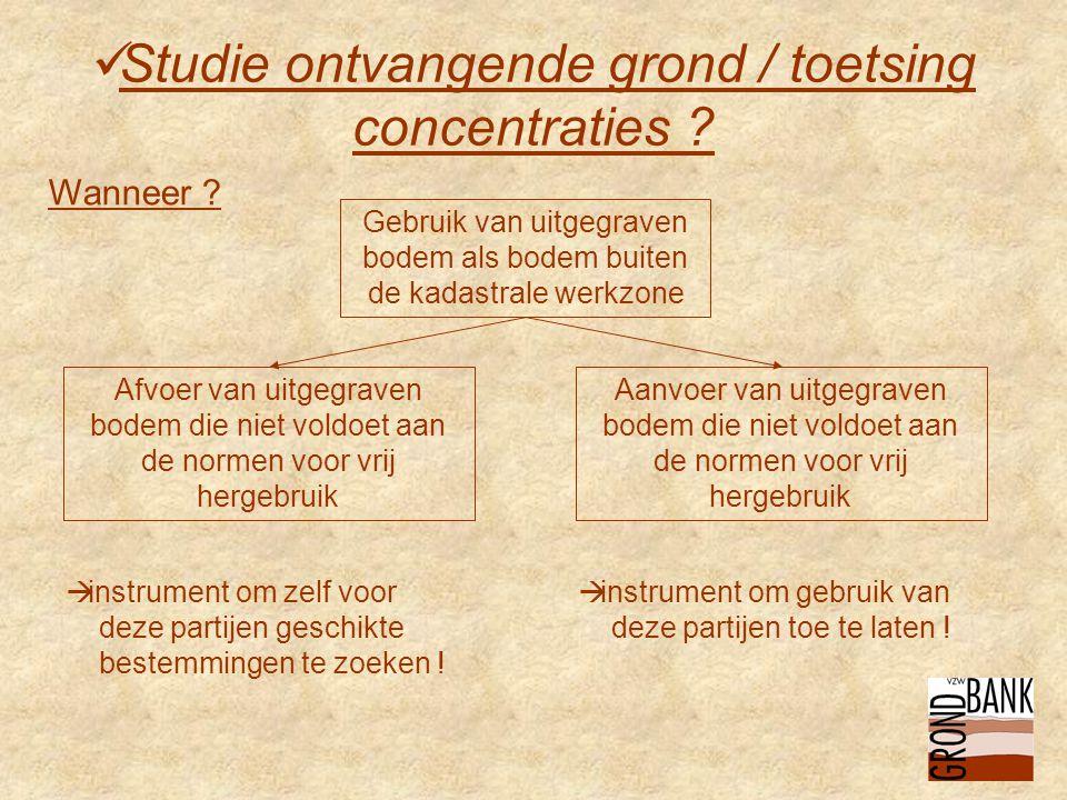  Studie ontvangende grond / toetsing concentraties .