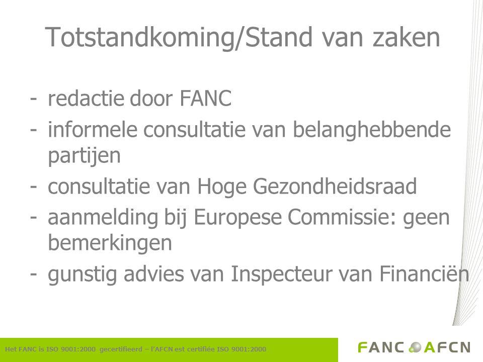 Totstandkoming/Stand van zaken -redactie door FANC -informele consultatie van belanghebbende partijen -consultatie van Hoge Gezondheidsraad -aanmeldin