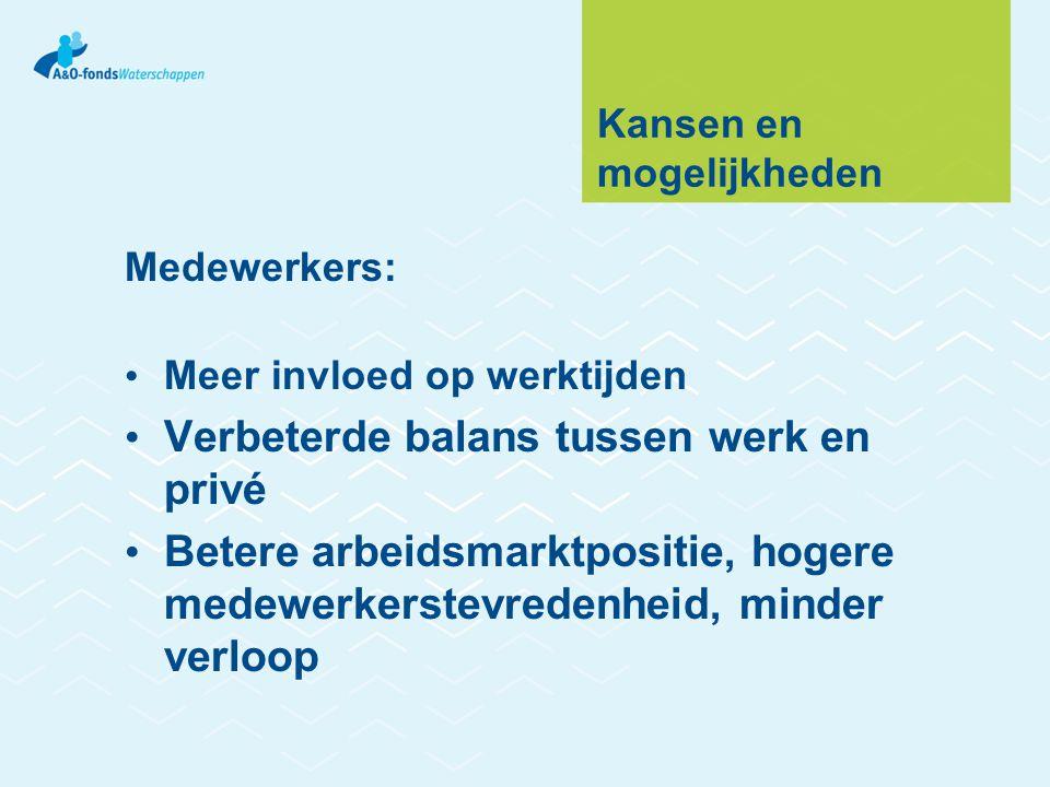 Kansen en mogelijkheden Medewerkers: • Meer invloed op werktijden • Verbeterde balans tussen werk en privé • Betere arbeidsmarktpositie, hogere medewe