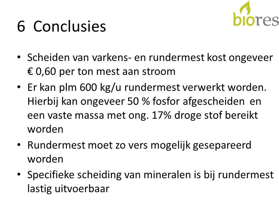 6 Conclusies • Scheiden van varkens- en rundermest kost ongeveer € 0,60 per ton mest aan stroom • Er kan plm 600 kg/u rundermest verwerkt worden. Hier