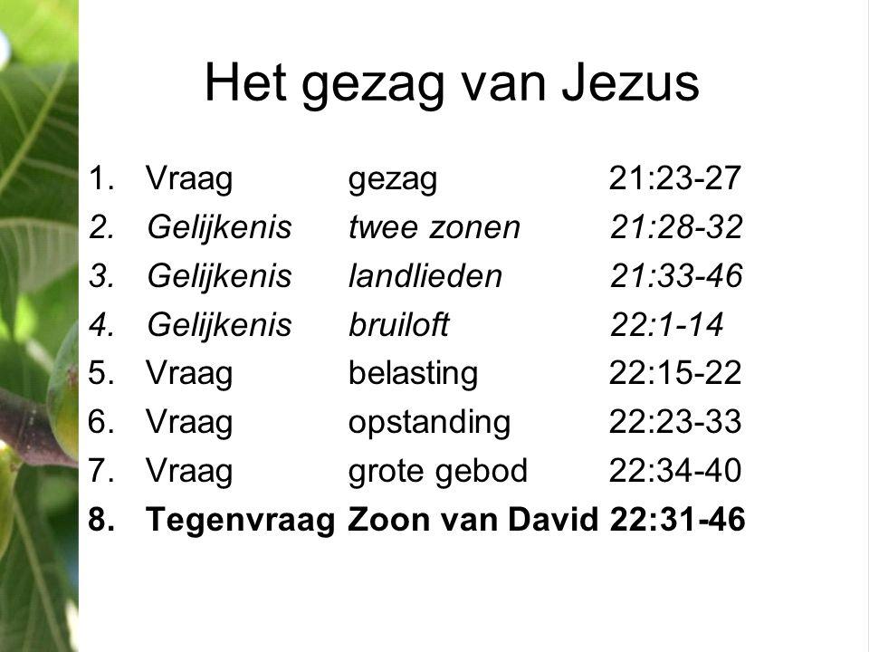 Het gezag van Jezus 1.Vraaggezag21:23-27 2.Gelijkenistwee zonen21:28-32 3.Gelijkenislandlieden21:33-46 4.Gelijkenisbruiloft22:1-14 5.Vraagbelasting22: