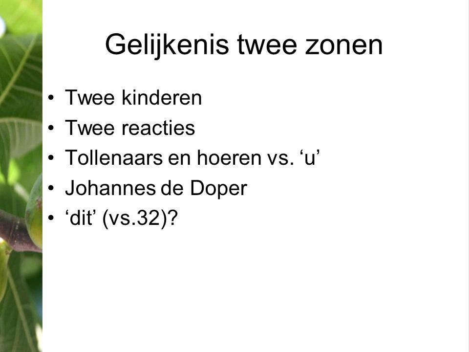 Gelijkenis twee zonen •Twee kinderen •Twee reacties •Tollenaars en hoeren vs. 'u' •Johannes de Doper •'dit' (vs.32)?