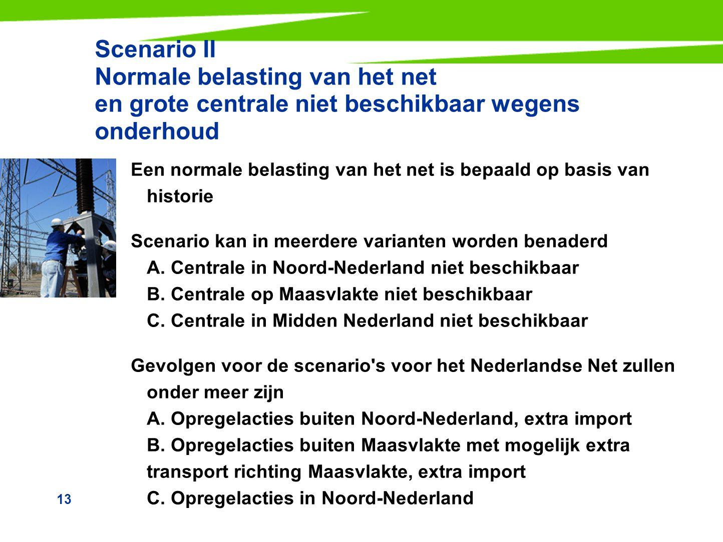 13 Scenario II Normale belasting van het net en grote centrale niet beschikbaar wegens onderhoud Een normale belasting van het net is bepaald op basis
