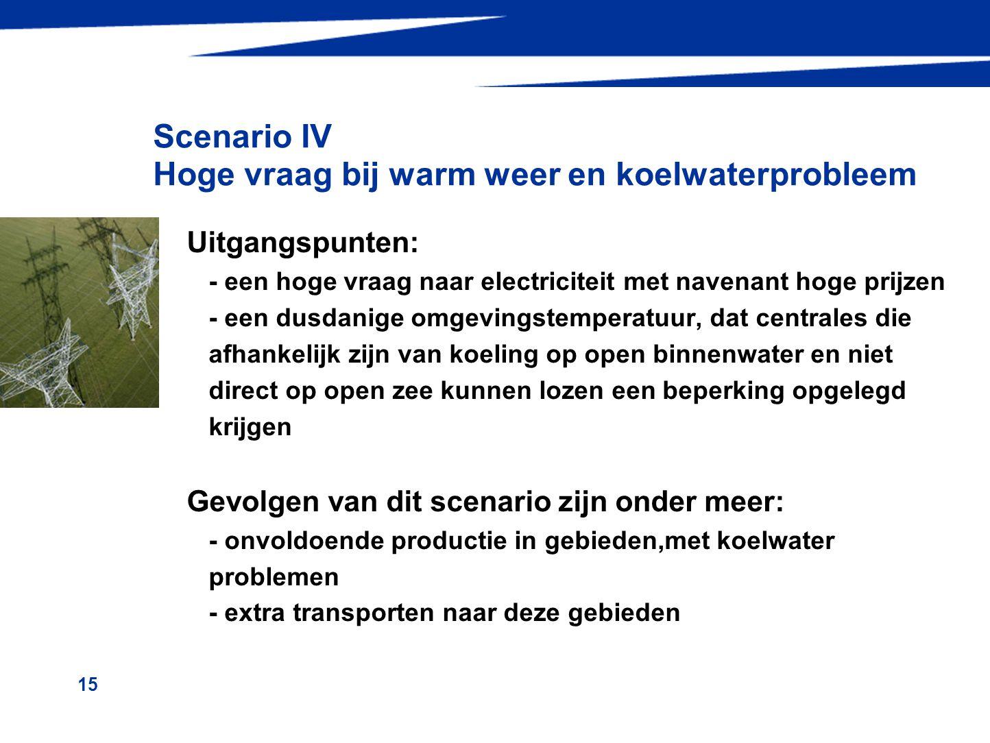 15 Scenario IV Hoge vraag bij warm weer en koelwaterprobleem Uitgangspunten: - een hoge vraag naar electriciteit met navenant hoge prijzen - een dusda