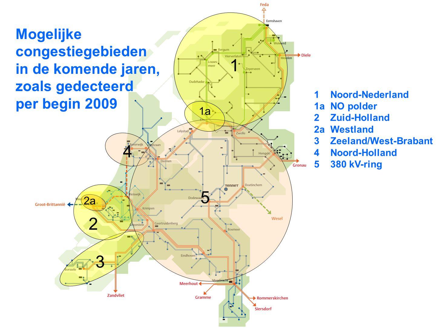 16 1 2 3 4 2a 5 1a 1Noord-Nederland 1aNO polder 2Zuid-Holland 2aWestland 3Zeeland/West-Brabant 4Noord-Holland 5380 kV-ring Mogelijke congestiegebieden