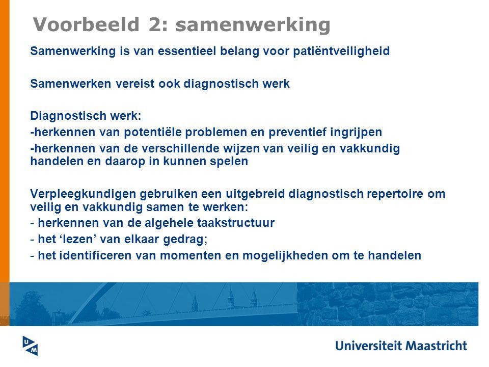 Voorbeeld 2: samenwerking Samenwerking is van essentieel belang voor patiëntveiligheid Samenwerken vereist ook diagnostisch werk Diagnostisch werk: -h