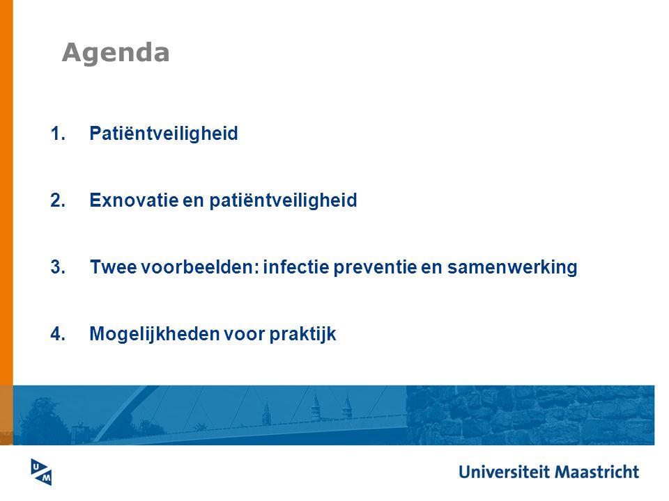 Agenda 1.Patiëntveiligheid 2.Exnovatie en patiëntveiligheid 3.Twee voorbeelden: infectie preventie en samenwerking 4.Mogelijkheden voor praktijk