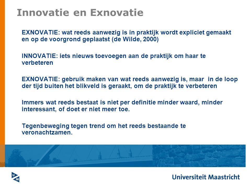 Innovatie en Exnovatie EXNOVATIE: wat reeds aanwezig is in praktijk wordt expliciet gemaakt en op de voorgrond geplaatst (de Wilde, 2000) INNOVATIE: i