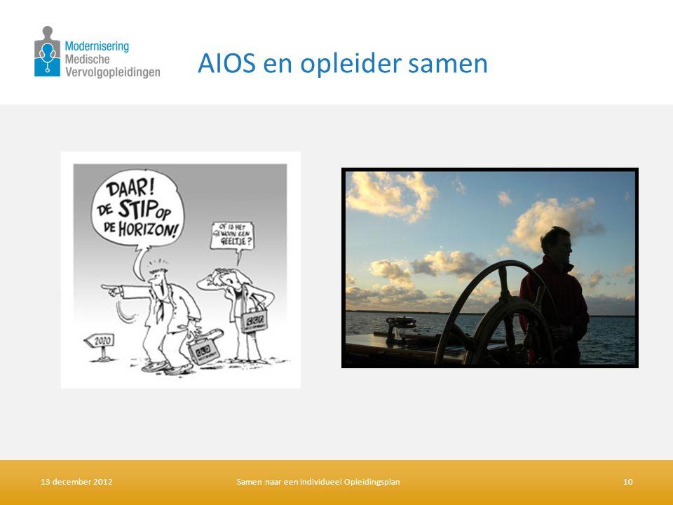 AIOS en opleider samen 13 december 2012Samen naar een Individueel Opleidingsplan10