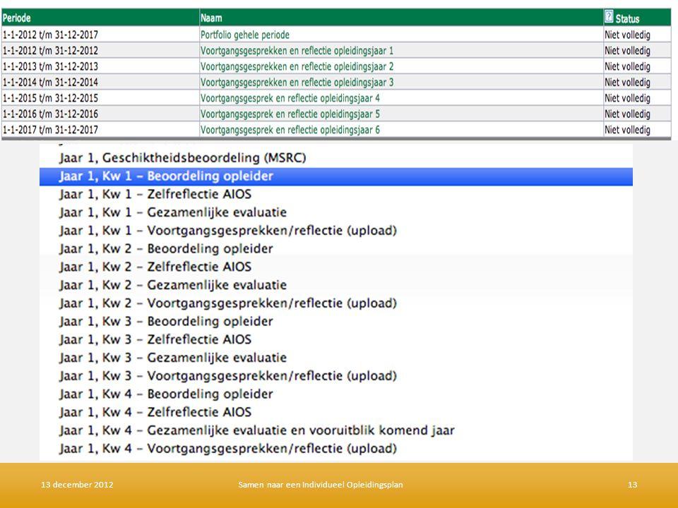 Jaar 1 en verder 13 december 2012Samen naar een Individueel Opleidingsplan13
