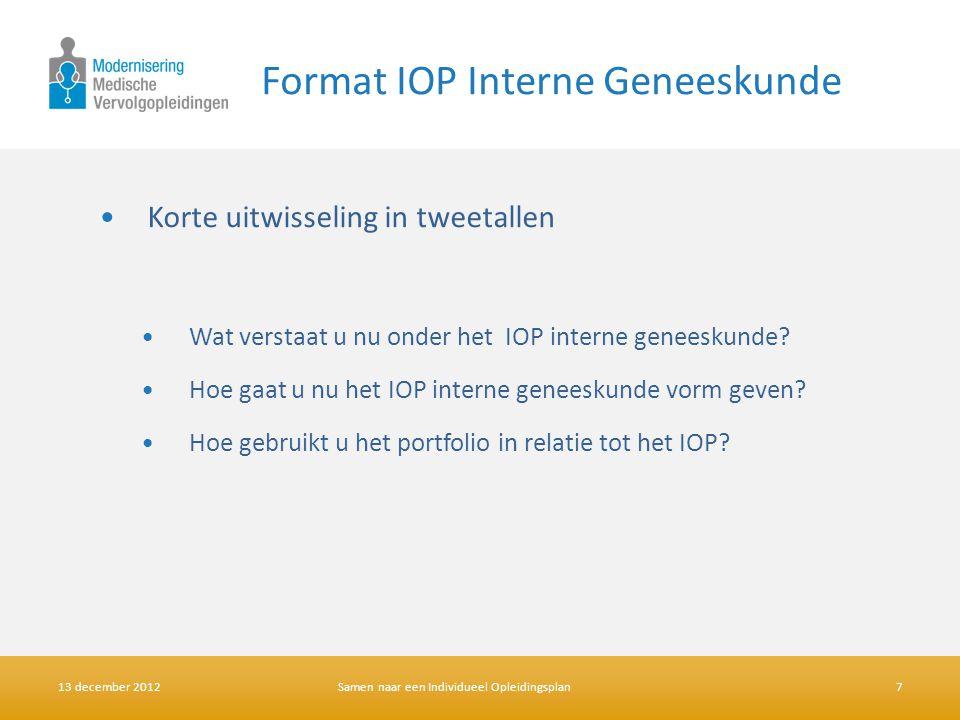 Format IOP Interne Geneeskunde •Korte uitwisseling in tweetallen •Wat verstaat u nu onder het IOP interne geneeskunde? •Hoe gaat u nu het IOP interne